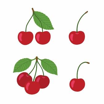 Спелые вишни на белом фоне. ягоды со стеблями и зелеными листьями.