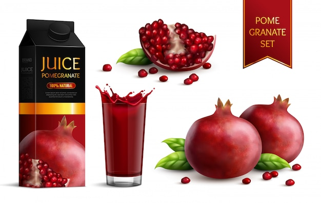 Ripe dark red pomegranates whole segments scattered seeds juice package and glass realistic images set