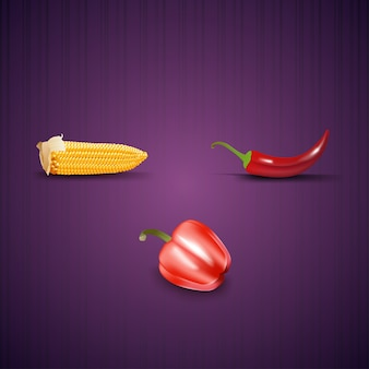 Ripe ear of corn, bell peppers and chili peppers.