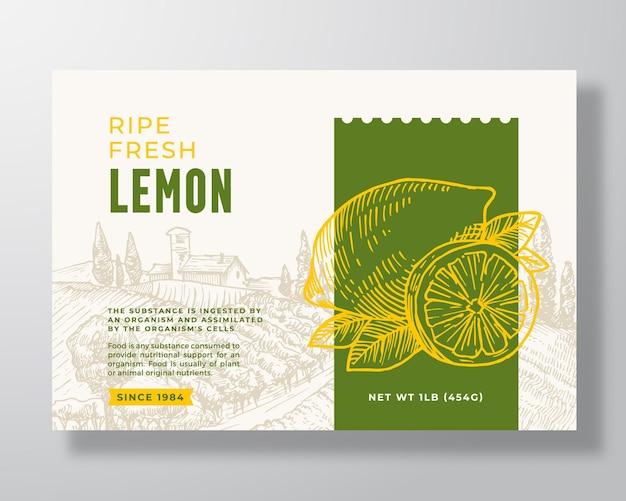 熟した新鮮なレモン食品ラベルテンプレート抽象的なベクトルパッケージデザインレイアウト現代のタイポグラフィbanne ...