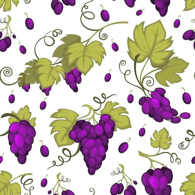 熟したブドウ、果物収穫のシームレスなパターン