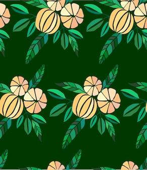 オレンジとマンダリンのパターンの熟したジューシーな素敵なオレンジの夏の秋のデザートスライス