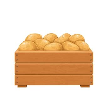 나무 상자 그림에서 익은 감자. 감자의 가을 수확.