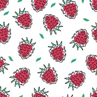 잘 익은 나무 딸기와 흰색 배경에 잎 원활한 패턴 육즙 벡터 배경