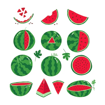 잘 익은 빨간 수박 전체와 여름 디자인을 위한 수분이 많은 과일의 수박 컬렉션 조각...