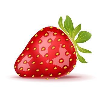 白で分離された熟したイチゴ。