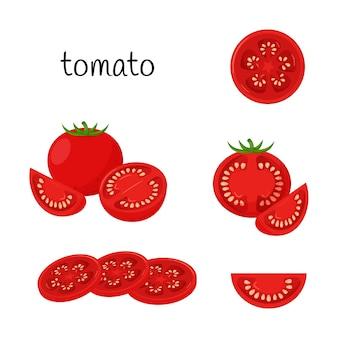 Спелый помидор. целиком, ломтиками, четвертью и половиной