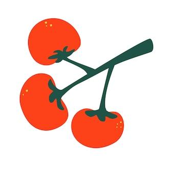 枝に完熟トマト。赤いトマトのセット。手描きのカラフルな落書き野菜をセットします。ベクトルイラスト。