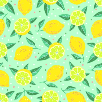 Ripe yellow fruits and leaves of lemon. seamless pattern with citrus. vector illustration