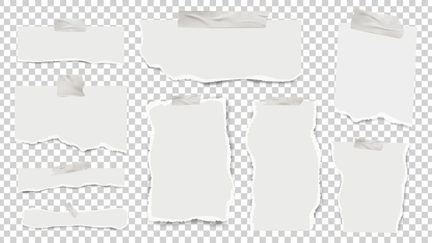 찢어진 메모지. 테이프로 붙인 현실적인 시트, 빈 빈 종이 벡터 세트. 종이 찢어진 시트, 메모장 페이지 부분 그림 프리미엄 벡터