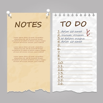 Ripped pages for notes, memo and to do list