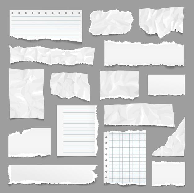 Разорванные страницы. рваная бумага, полоски для записей с рваными краями. страница записной книжки, линейные текстурированные листы. реалистичные морщинистые и мятые пустые точные векторные элементы