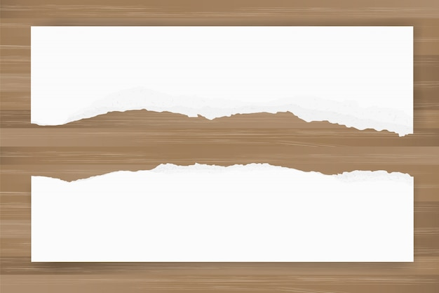 Ripped paper background on brown wood texture. torn paper edge.