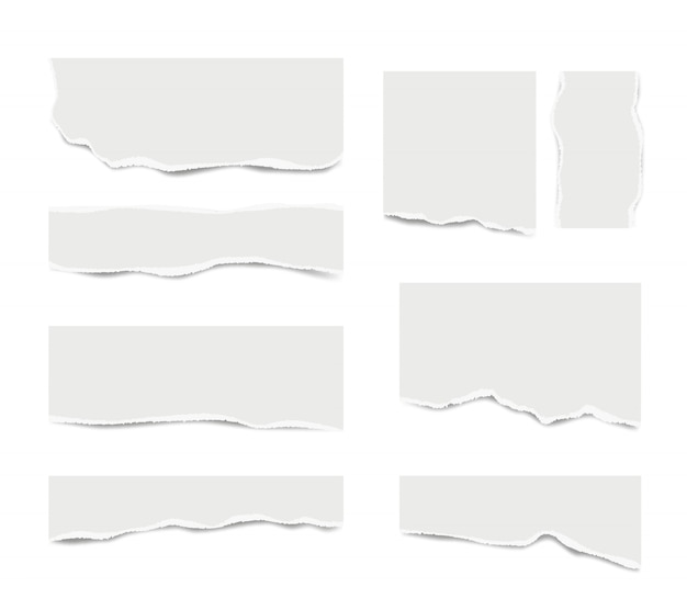 Ripped paper. broken white note paper for text messages different shapes vector realistic template