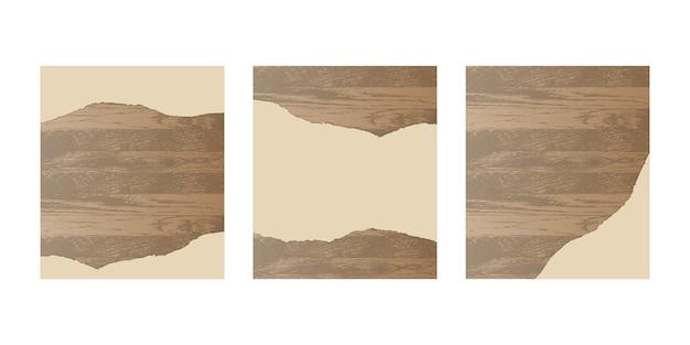 木の板に破れた紙