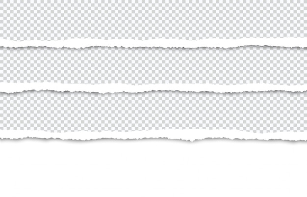 Ripped paper strips for text or photo on white