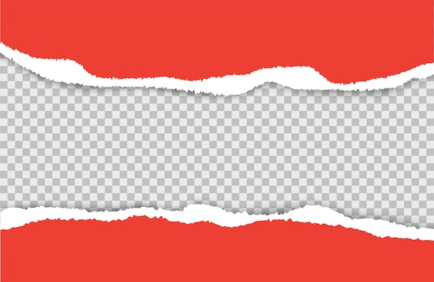 찢어진 종이. 찢어진 된 붉은 종이 시트 세트. 투명 한 배경에 고립 된 찢어진 된 시트입니다. 크리스마스 배경