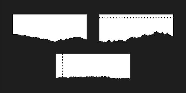 破れた紙のページ、ぼろぼろのページは孤立した空白のシートを形作ります。破れた破損したスクラップのベクトル図。