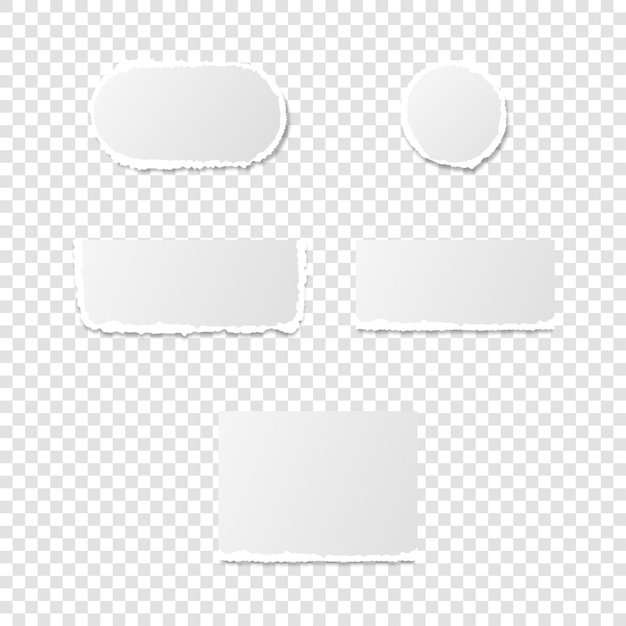 Ripped pieces of paper page, ragged pages shape isolated blank sheet. torn damaged scrap vector illustration.