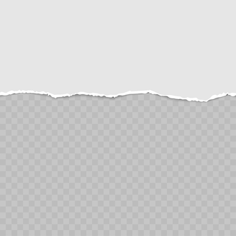텍스트 또는 메시지 용 사각형 가로 회색 종이 스트립을 찢었습니다.