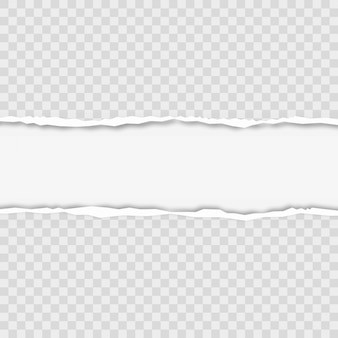 Ripped squared horizontal grey paper strips for text or message. vector