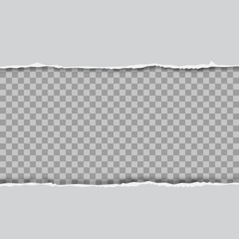 Ripped squared horizontal grey paper strips for text or message. vector.