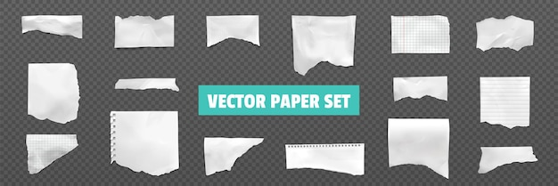 Ripped torn notebook page set