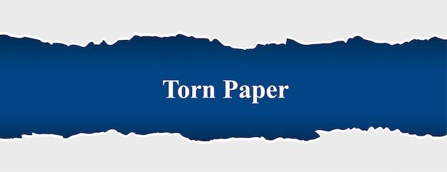 Разорванный рваный бумажный баннер белого и синего цвета