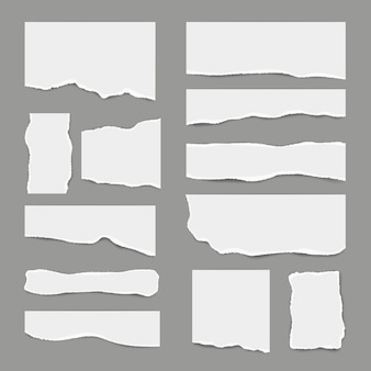 Ripped white paper. torn light scrap note paper for notes pieces realistic pictures for banners
