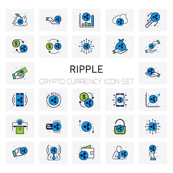 Ripple crypto currency icons set