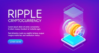 Ripple cryptocurrency illustration for peer-to-peer blockchain and mining farm technology.