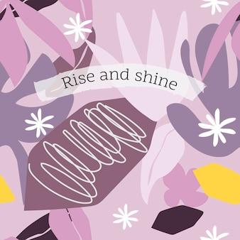Шаблон сообщения rise and shine, редактируемый вектор цитаты