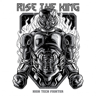 Rise the king black and white illustration