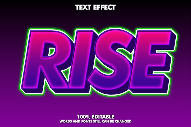 Rise purple and green text effect