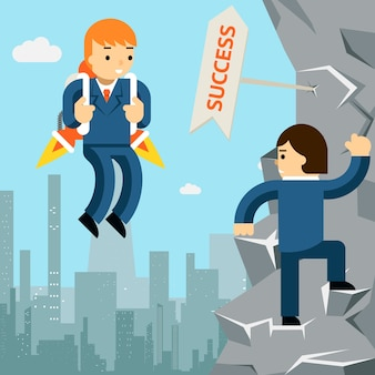 Rise to success. businessman with rocket and man climbing up the cliff.