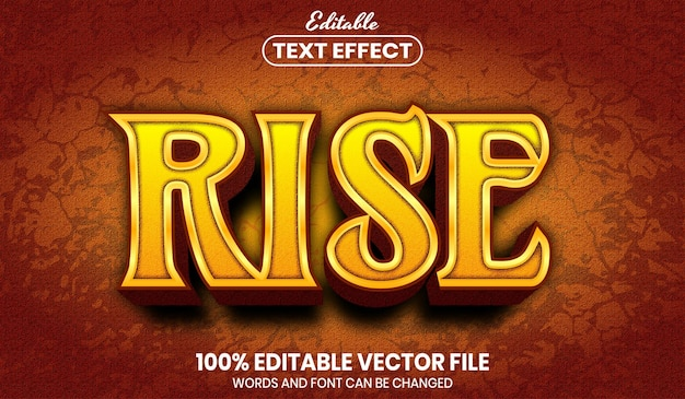 Rise text, editable text effect