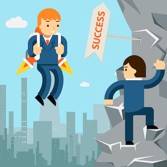成功への上昇。ロケットと崖を登る男とビジネスマン。