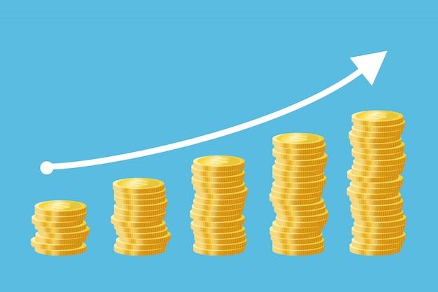 Rising stacks of golden coins cartoon illustration