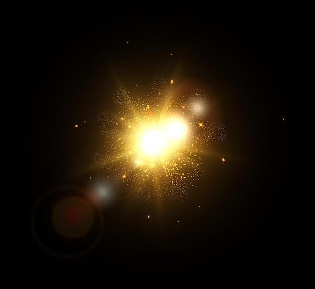 宇宙空間で昇る太陽