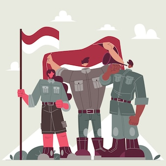 Поднятие флага дня независимости индонезии