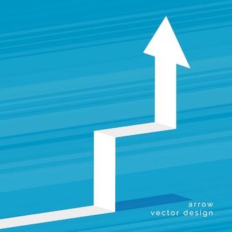 Freccia bianca in aumento 3d su priorità bassa blu