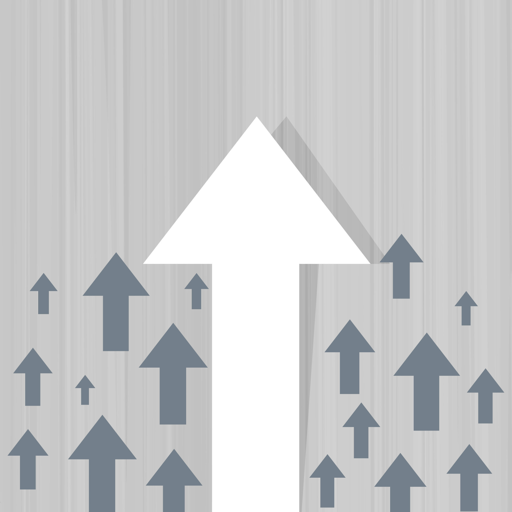 Rising white arrow business background