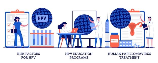 Risk factors for hpv, health education programs, papillomavirus treatment concept with tiny people. human papillomavirus set. infection diagnostics, immune system metaphor.