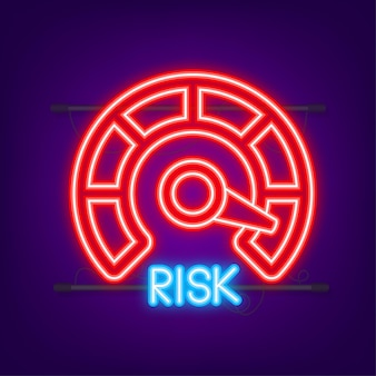 Значок риска на спидометре. неоновая иконка. измеритель высокого риска. векторная иллюстрация.