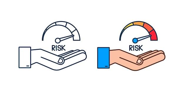 Risk icon on speedometer in hands. high risk meter. vector stock illustration.