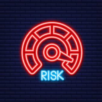 Risk icon on speedometer. neon icon. high risk meter. vector illustration.