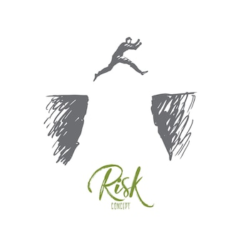 Risk illustration in hand drawn