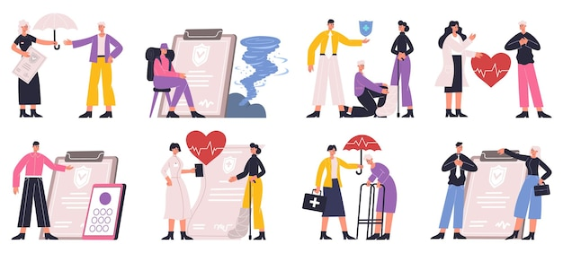 Risk insurance protecting health, business, automobile and house. insurance life, health and property safety protection vector illustration set. property protection offers life protection and safety