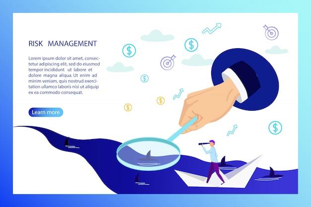 Risk management banner, business man on paper boat