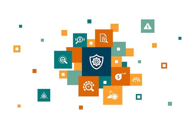 リスク管理インフォグラフィック10ステップのピクセルデザイン。制御、識別、リスクのレベル、シンプルなアイコンの分析